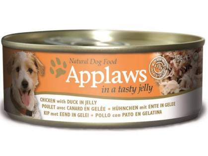 Applaws Hühnchen mit Ente in Gelee Hundefutter nass 12 x 156 g