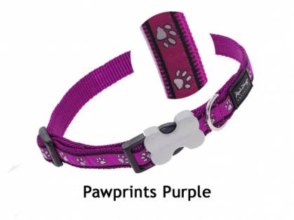 Red Dingo Pawprints Purple aubergine