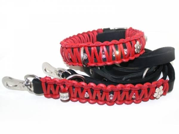 halsband leinen set f r hunde im retrolook schwarz rot. Black Bedroom Furniture Sets. Home Design Ideas