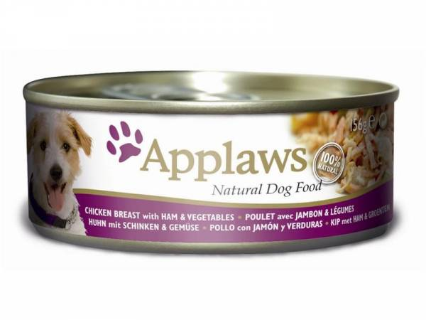 Applaws Natural Dog Food Hundefutter mit Huhn, Schinken & Gemüse 16 x 156 g