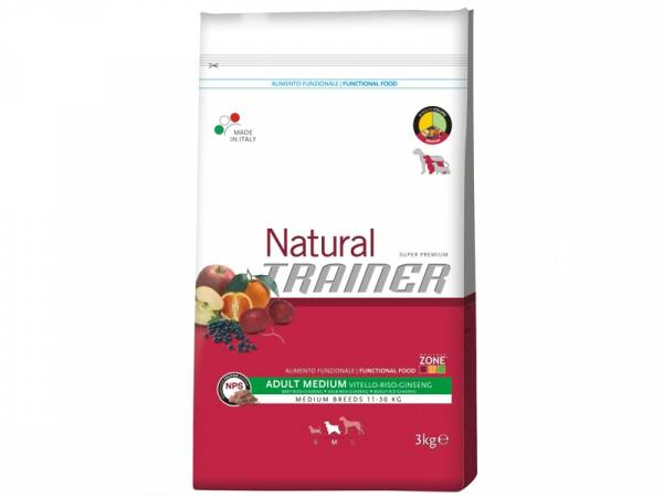 Trainer Natural Adult Medium Rind-Reis-Ginseng Hundefutter trocken
